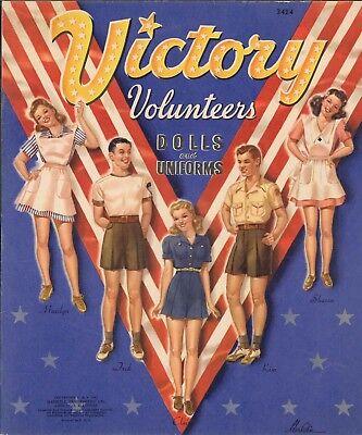 VINTAGE UNCUT 1943 VICTORY VOLUNTEERS PAPER DOLL LASER REPRO~LO PR~HI QU FREE SH