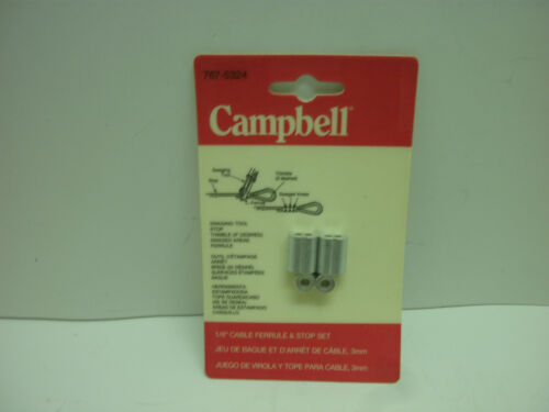 """3mm CABLE FERRULE /& STOP SET NEW IN PKG. CAMPBELL 767-5324 1//8/"""""""