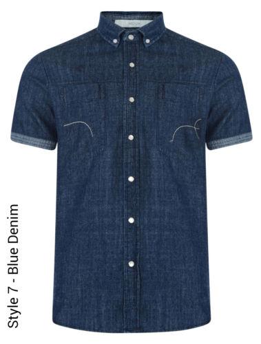 Crosshatch Men/'s New Slim Fit Long /& Short Sleeve Shirts Check Plain Pattern