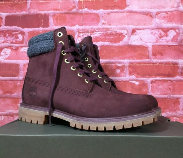 TIMBERLAND WATERPROOF MEN'S 6 INCH DOUBLE COLLAR BOOTS BURGUNDY A1ZK8 SIZES