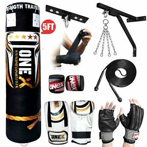NEW-3-4-5-FT-Filled-Heavy-Punch-Bag-Buyer-Build-Set-Chains-Bracket-Boxing-Bag
