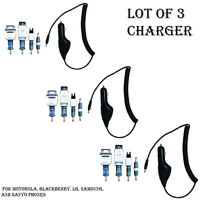 Qty (3) Cellular Innovation Car Charger For Motorola,blackberry,lg,samsung,sanyo