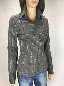 HOT-OPTIONS-NWT-39-99-Size-8-Grey-Black-Corporate-Stripe-Shirt-A607