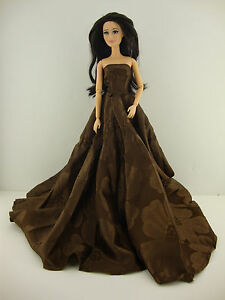 Marvelous Brown Strapless Ball Gown Great Color Made to Fit Barbie Doll