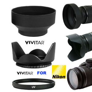 55MM-HARD-LENS-HOOD-RUBBER-SOFT-HOOD-HD-55MM-UV-FILTER-FOR-NIKON-D5600-D3400