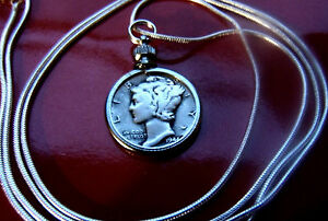 Beautiful-Silver-Mercury-Dime-Pendant-on-a-30-034-925-Sterling-Silver-Snake-Chain