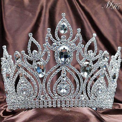 Large Wedding Tiara Crown Austrian Rhinestone Brides Headband Pageant Party Prom