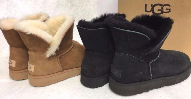 6edc902d298 UGG Australia CLASSIC MINI SHEEPSKIN CUFF BOOTS Chestnut or Black 1016417  Womens