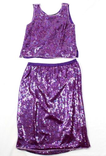 Sequinned 100 Two Lilla Piece Small Beaded Outfit Queen 80 tallet Jewel Women Silke g6qTnqFRw