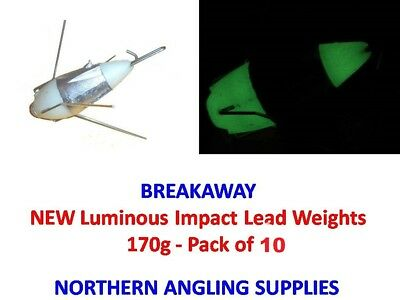 Pack of 10 Breakaway Tackle NEW Luminous Impact Lead Weights 170g