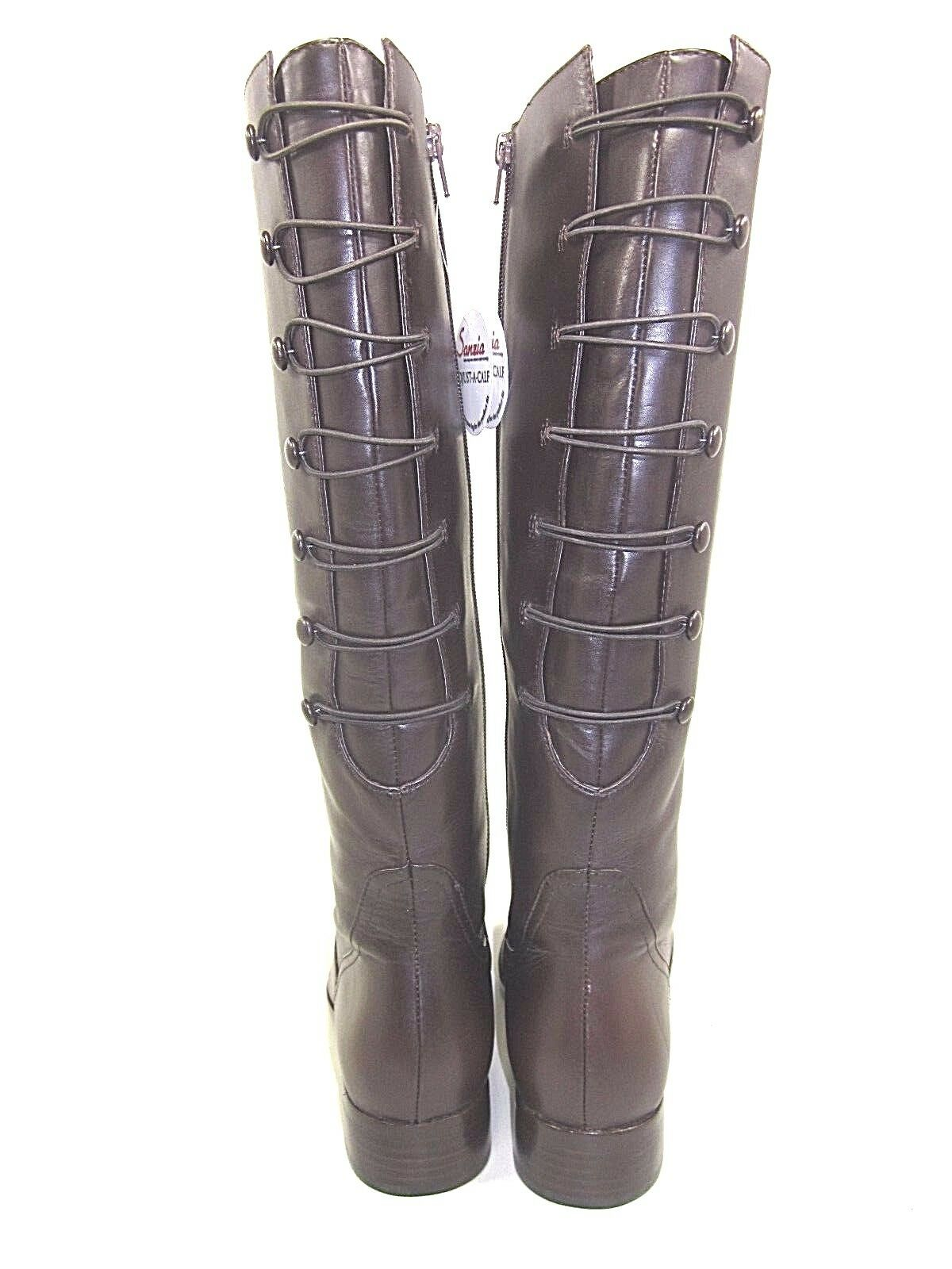 SANZIA, VINTAGE BUTTON RIDING BOOT, WOMENS, CHOCOLATE CALF, US 9.5W, 9.5W, 9.5W, NEW W O BOX b469c0