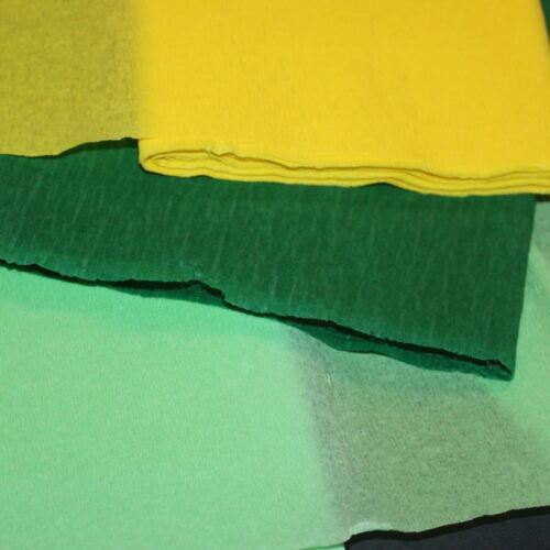 Easter Crepe Paper Pack Light Green Dark Green Yellow 12 Folds 3m lengths Spring