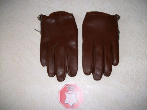 10 9.5 8.5 9 MEN/'S BROWN REAL SOFT GOATSKIN LEATHER GLOVES SIZE 8