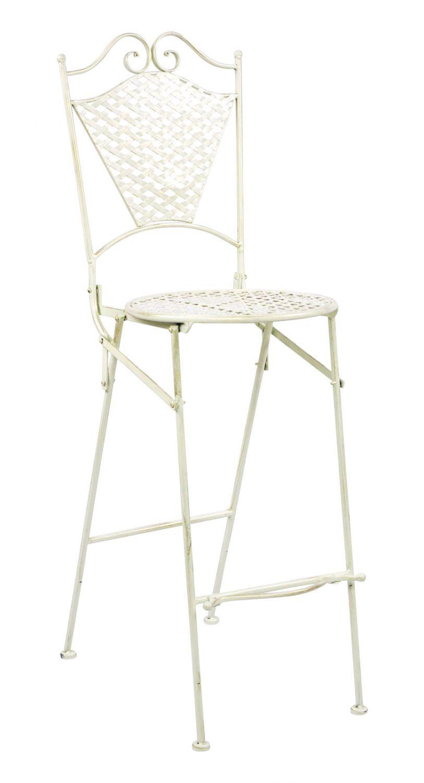 Muebles de jardín muebles de hierro taburete de bar silla de jardín estilo antiguo hierro crema blancoo 117cm