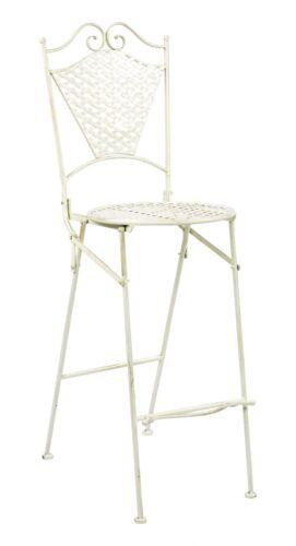 Muebles de jardín muebles de hierro taburete de bar silla de jardín estilo antiguo hierro crema blanco 117cm