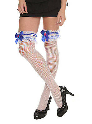 HOT TOPIC BLUE AND WHITE RUFFLE FISHNET THIGH HIGHS ONE SIZE FITS MOST