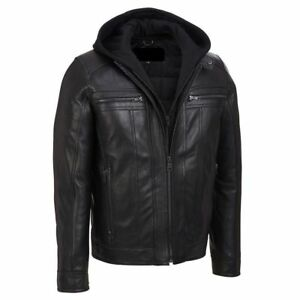Men-039-s-Motorcycle-Black-Slim-Fit-Genuine-Leather-Jacket-with-Removable-Hood