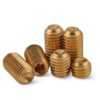 Brass Cup Point Grub Screws Allen Key Socket Set Tighten Screws M3 - M10