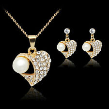 18k Oro Placcato Perla Women's Jewelry set Collana di cristallo strass + orecchini