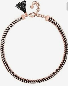 Mimco-Brand-New-Victorious-Rose-Gold-Black-Choker-Necklace-Dust-Bag
