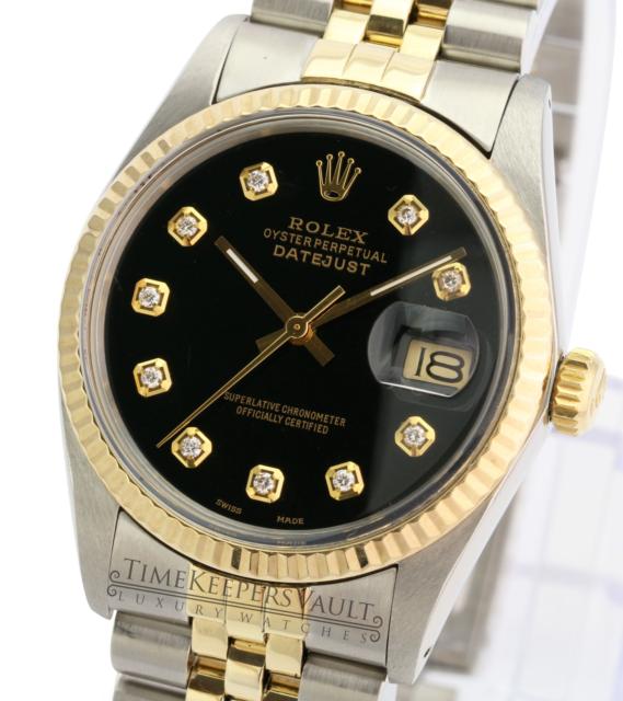 Rolex Mens Datejust 16013 Two-tone 36mm Black Diamond Dial 18K Gold Bezel Watch