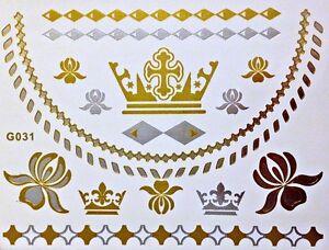 FLASH-UNA-VOLTA-temporaneo-COLLA-Tatuaggio-oro-argento-16-pz-Bracciale-G31