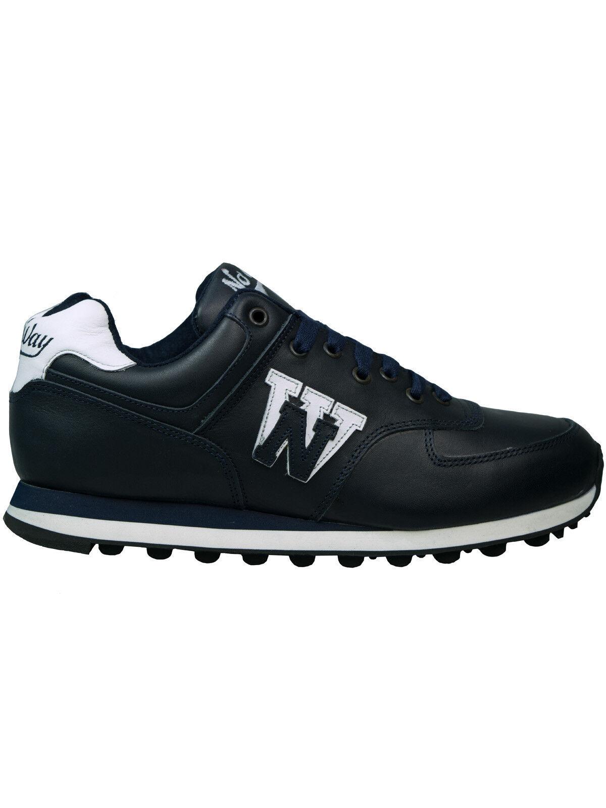 No Way Turnschuh / Sneaker / Schuh 3662 Glattleder Navy / Dunkelblau #5004