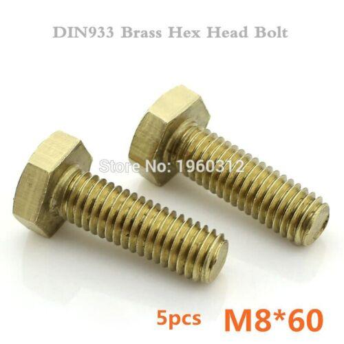 5pcs//lot DIN933 M8 x 60mm Brass Hexagon Bolts Hex Head Bolt Set Screw Setscrews