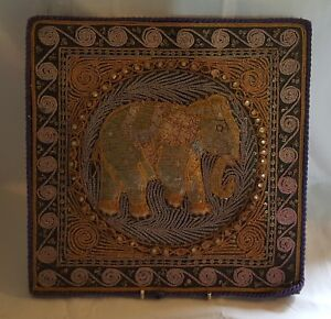Chinese-stumpwork-vintage-Victorian-oriental-antique-elephant-picture