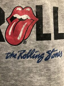 The Rolling Stones Men/'s Fashion Tee Gris burn out Vintage Tongue