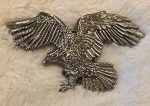 Gorgeous Hand Tooled Leather American Eagle Spread Wings  Unisex  Belt Buckle-E PLURIBUS UUNUM