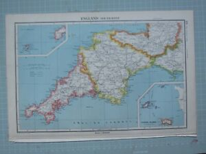 1943 Mappa Inghilterra Sud Occidente ~ Cornwall Devon Scilly Isole Canale Isole