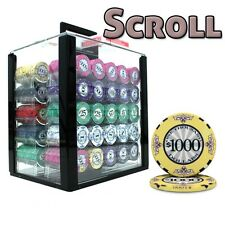 New 1000 Scroll 10g Ceramic Poker Chips Set with Acrylic Case - Pick Chips!