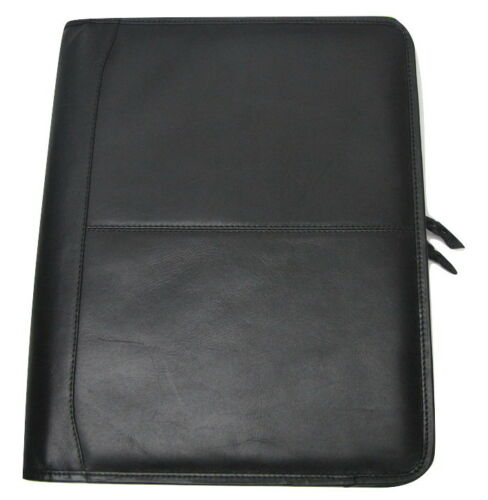 Black Leather A4 Business Folder Portfolio with option to PERSONALISE H0100//1