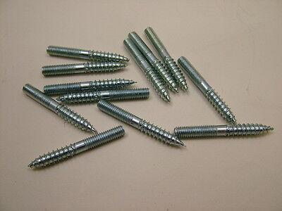 WOOD TO METAL DOWELS ZINC FURNITURE FIXING SCREWS REPAIRS BZP M6 x 50mm