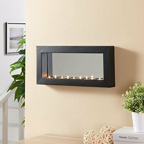 Danya B SE1473 Horizontal Mirror Tealight Candle Sconce with Metal Frame NEW