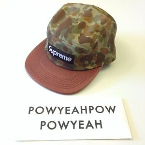 4362ee8c79f Image is loading SUPREME-CAMO-LEATHER-CAMP-CAP