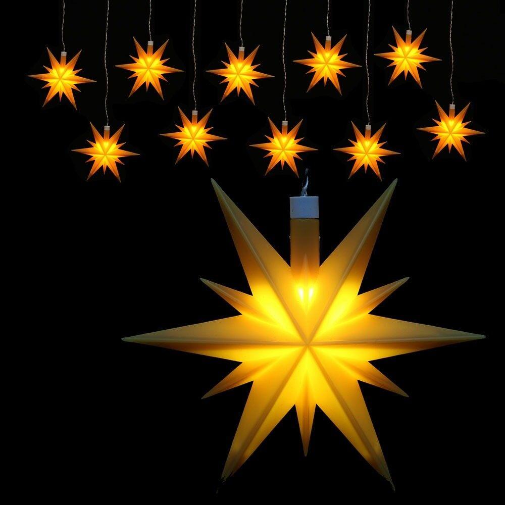 Weihachtsstern beleuchtet 10er-Lichterkette wetterfest gelb Adventsstern Neu