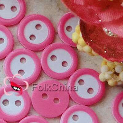 Hot Pink 2 Holes 11mm Plastic Buttons Sewing Craft Scrapbooking PCB-B09