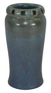 Zark Pottery Double Walled Reticulated Rim Mottled Blue Vase