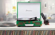 Zennox Green Retro Portable Briefcase Vinyl Turntable Record Player Music Deck