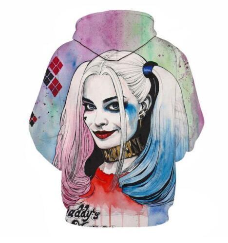 Woman  hoodies Squad Harley Quinn printed Pocket hoodies Peties M-6XL Hoodie