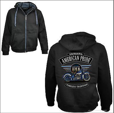 * Biker Hoodie Jacke Sweatshirt Harley-oldimer-motiv Vintage Flathead Bike *4254 GroßEr Ausverkauf