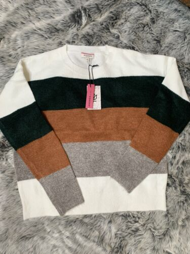 Gorgeous Soft Colorblock Sweater Pullover Forest Green Rust Grey Andree By Unit