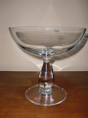 """Antiques Decorative Arts Hand Blown24%lead Heavy Clear Crystal """"krosno""""pedestal Bowl Made In Poland9""""tall"""