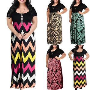 Women-039-s-Chevron-Print-Summer-Short-Sleeve-Plus-Size-Casual-Long-Maxi-Dresses