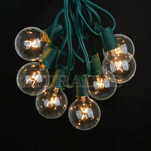 Outdoor String Lights Globe Clear : 25 Foot Outdoor Globe Patio String Lights - Set of 25 G40 Clear Bulbs US Stock eBay