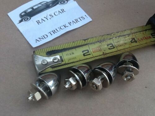 4 CHROME METAL BULLET STYLE LICENSE PLATES FASTENERS
