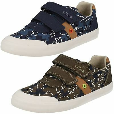 Infant Boys Clarks Comic Zone Inf Khaki Or Navy Casual Canvas Pumps