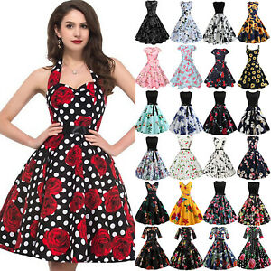 Women-Floral-Vintage-Pin-Up-High-Waist-Party-Sleeveless-Rockabilly-Retro-Dress